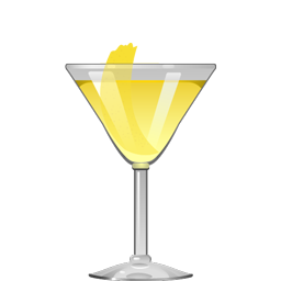 Acacia cocktail with gin, Benedictine, kirsch and lemon twist