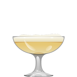 Apricot Lady cocktail with light rum, apricot liqueur, lime juice, orange curaçao, and egg white