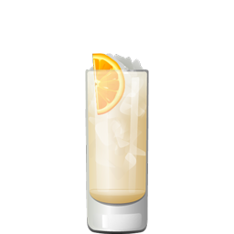 Arancia Julius cocktail with Galliano, genever, pineapple juice, orange juice, cream, and club soda
