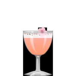 Arigatou, Gomen Nasai cocktail with nigori sake, lemon juice, strawberry syrup, orgeat, and egg white