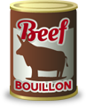 Beef bouillon, an ingredient in cocktails like the Bullshot