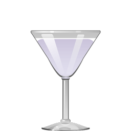 Bella Luna cocktail with gin, elderflower liqueur, creme de violette, lemon juice, and simple syrup