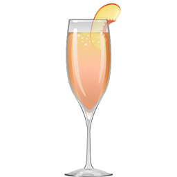 Bellini cocktail with peach puree and sparkling white wine