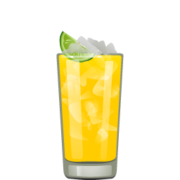 Black-Eyed Susan cocktail with vodka, light rum, triple sec, orange juice, pineapple juice, and lime