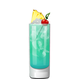 Blue Hawaii cocktail with light rum, citrus vodka, blue curaçao, pineapple juice, lemon juice, and simple syrup.