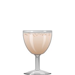 Bosom Caresser cocktail with brandy, Madeira, orange curaçao, egg yolk, grenadine, and nutmeg