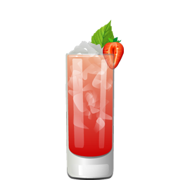 Bourbon Street sour highball with fresh strawberries, ginger syrup, honey syrup, bourbon, lemon juice, and sparkling water
