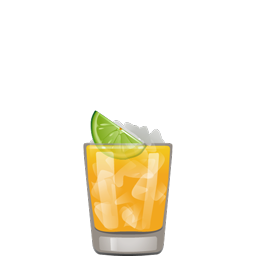 Brazilian Wax cocktail with cachaça, pineapple juice, passion fruit puree, club soda and lime wedge