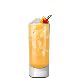 Bunny Mother cocktail with vodka, orange juice, lemon juice, simple syrup, grenadine, and triple sec