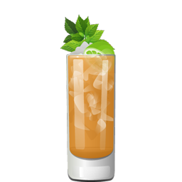 Captain's Grog cocktail with light rum, aged rum, dark rum, lime juice, grapefruit juice, maple syrup, falernum, orange curaçao, almond extract, and vanilla extract
