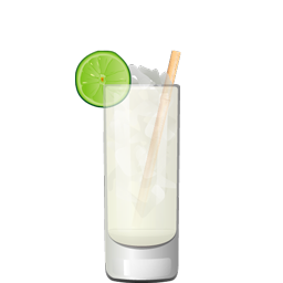 Caribeño tropical cocktail with light rum or gin, coconut water, lime juice, and simple syrup