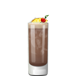 Castaway cocktail with dark rum, coffee liqueur, and pineapple juice