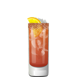 Chavela savory beer cocktail with Mexican lager, tequila, tomato juice, hot sauce, lime or lemon, and a chili-salt rim