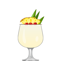 Chi Chi cocktail with vodka, cream of coconut, and pineapple juice