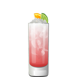 City Rickey highball cocktail with gin, triple sec, cranberry juice, lime juice, and sparkling water
