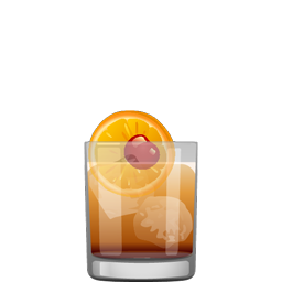 Claremont cocktail with brandied cherry, orange, bitters, dry orange curaçao, bourbon, and soda water
