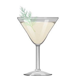 Complement cocktail with gin, aquavit, maraschino liqueur, and fresh dill
