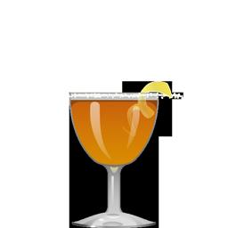 Crusta cocktail with cognac (or bourbon or brandy or rye), triple sec, maraschino liqueur, lemon juice, and bitters