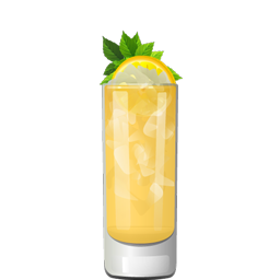 Democrat cocktail with bourbon, lemon juice, peach liqueur, and honey syrup