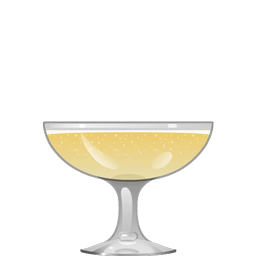 Doc Daneeka Royale sparkling cocktail, with gin, lemon juice, maple syrup, grapefruit bitters, and sparkling wine