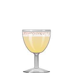 Egg Sour classic cocktail with brandy, orange curaçao, a whole egg, simple syrup, and lemon juice