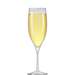 French 75 cocktail with sparkling wine and gin