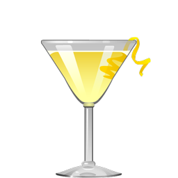 Yellow cocktail with foam and lemon twist