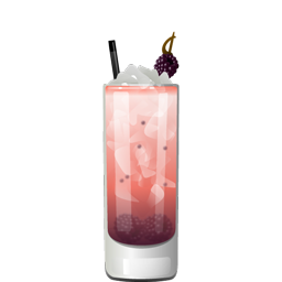 Get Lucky cocktail with blackberries, light rum, lemon juice, ginger syrup, orgeat, honey syrup, and Peychaud's bitters