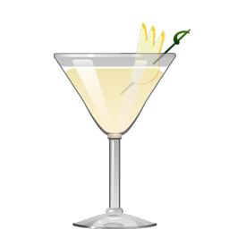 Harvest Pear cocktail with Riesling white wine, pear brandy, amaretto, lemon juice, and simple syrup