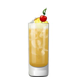 Heavens Above cocktail with light rum, creme de cacao, coffee liqueur, and pineapple juice