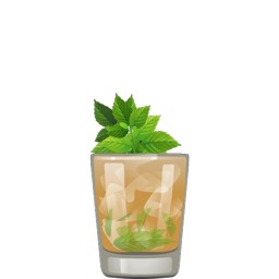 High Stakes Julep with bourbon, apricot preserves, and mint leaves
