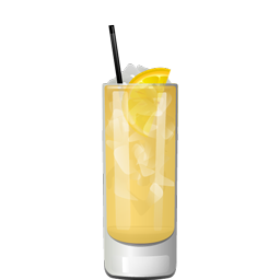 Horsefeather cocktail with whiskey, ginger beer, angostura bitters, and a lemon wedge