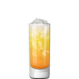 Japanese Orange Breeze cocktail with sake, orange juice, and sparkling water