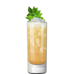Jimmy Dean cocktail with mint, bourbon, honey liqueur, orange juice, and black tea