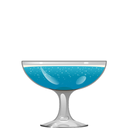 Juan Ho Royale cocktail with champagne, tequila, blue curaçao, falernum, lime juice, and orgeat