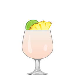 Lady of Singapore cocktail with aged rum, pineapple juice, lime juice, cream of coconut, sweet cream, and grenadine