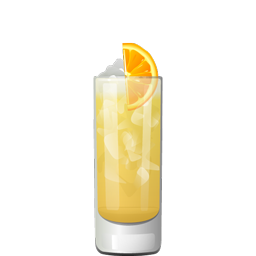 Lana Kane cocktail with bourbon, allspice dram, lemon juice, orange juice, honey syrup, and falernum syrup