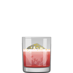 Luke cocktail with light rum, sousop (guanabana) nectar, lemon juice, hibiscus syrup, egg white, and orange bitters