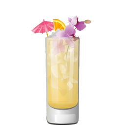 Mystic Lamp cocktail with rum, lychee juice, orange juice, lime juice, and almond extract