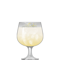 Nilsson Schmillson cocktail with navy-strength gin, sake, lime juice, vanilla syrup, coconut milk, and cream of coconut.