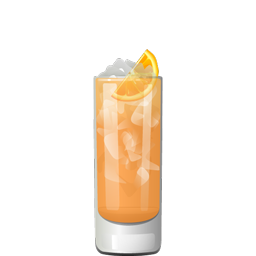 Oranges, Etc. cocktail with orange juice, Aperol, orange vodka, Grand Marnier, Lillet Blanc, orange bitters, lemon juice, and lemon soda