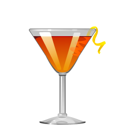Oriental cocktail with bourbon and triple sec