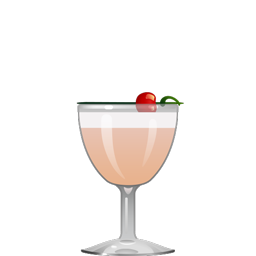 Pink Lady cocktail with gin, applejack, lemon juice, grenadine, and egg white