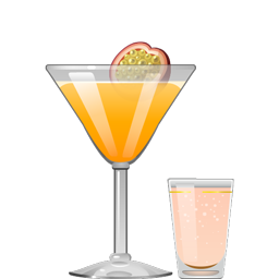 Porn Star Martini cocktail with vodka, passion fruit puree, vanilla syrup, lime juice, and a sidecar of sparkling rosé wine