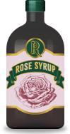 Rose syrup, an ingredient in cocktail recipes