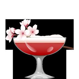 Sakura cocktail with nigori sake, gin, hibiscus syrup, lemon juice, orange bitters, and egg white