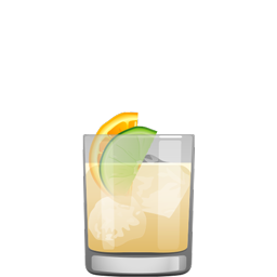 San Salvador rum sour with dark rum, orange curaçao, orange juice, and lime juice