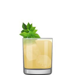 Smash cocktail with mint, lemon, simple syrup and whiskey
