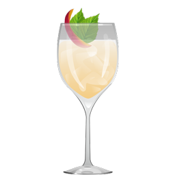 Song for Mona sparkling cocktail with ume plum wine, simple syrup, lemon juice, and sparkling white wine