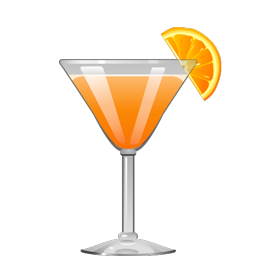 South Beach sour cocktail with Campari, Amaretto, orange juice, and simple syrup